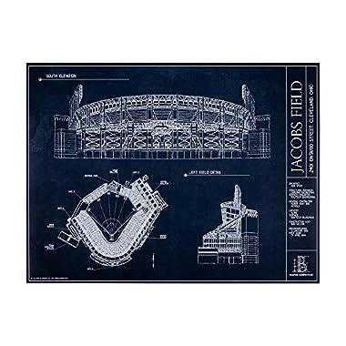 Jacobs Field Blueprint Style Print (Unframed, 18  H x 24  W)