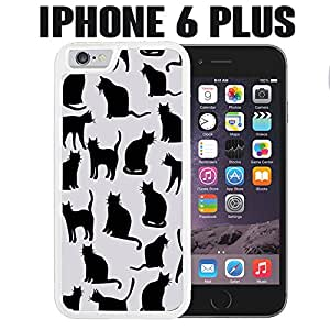 iPhone Case Black Cat for iPhone 6 PLUS Plastic White (Ships from CA)