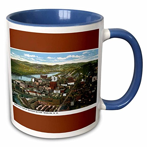 3dRose BLN Vintage US Cities and States Postcards - Birds Eye View of Business Section, Wheeling, West Virginia - 15oz Two-Tone Blue Mug (mug_170771_11)