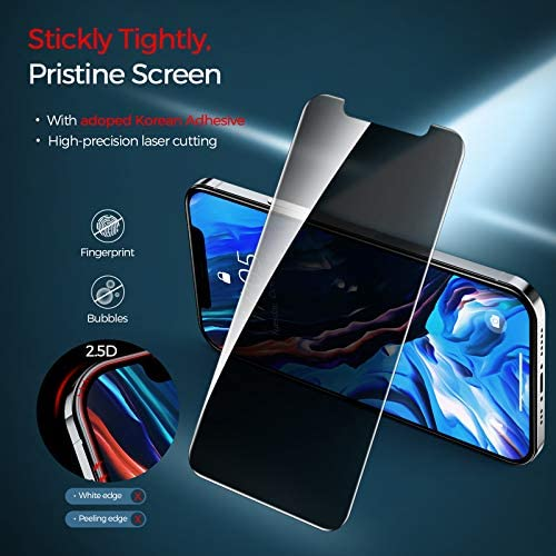 Linklike Upgraded Compatible for iPhone 12 Pro Max Privacy Screen Protector Tempered Glass Anti Spy iPhone 12 Pro Max Glass Screen Protector Privacy [With Guidance Frame] [Anti-fingerprint] Film (6.7 inch), 2 Pack