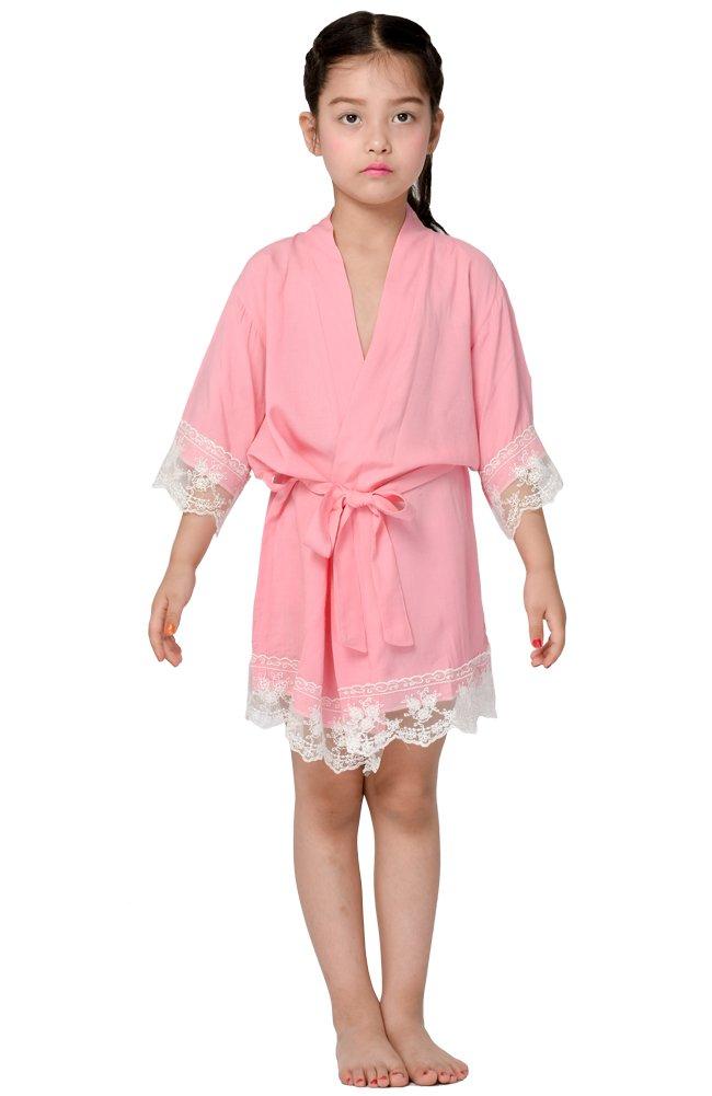 Cotton flower Girl Kimono robe,Bridal party kids lace robe ,Junior bridesmaid robe for wedding gift (6, PINK)
