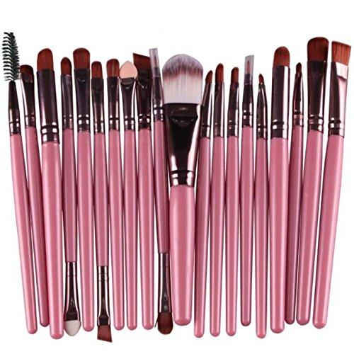 Hunputa 20 pcs Makeup Brush Set tools Make-up Toiletry Kit Wool Make Up Brush Set (Pink)