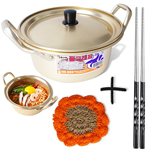Korean Ramen Noodle Pot 6.3(16cm) + Chopstick (1 Pair) + Dish scrubber, Made in Korea