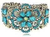 Alilang Vintage Inspired Flower Dragonfly Cuff Bracelet Blue Rhinestone