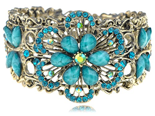 [Alilang Vintage Inspired Flower Dragonfly Cuff Bracelet Blue Rhinestone] (Butterfly Costume Jewelry)