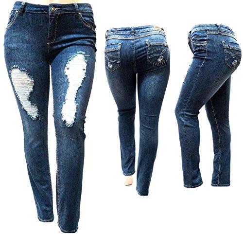 C'EST TOI WOMENS PLUS SIZE Stretch Distressed Ripped BLUE SKINNY DENIM JEANS (Denim Twill Skirt)