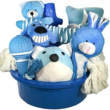 Wolfe & Sparky Gift Pack of Assorted Blue & White Dog Toys (5 Count) in a Blue Dog Bowl Makes a Great Gift (Ideal for Small Dogs only) Toys May Vary from Photo !