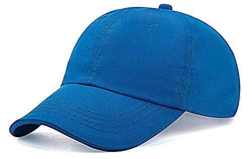 Unisex Kids Baseball Cap Hat Plain Washed Low Profile Cotton (Blue Baseball Hat Cap)