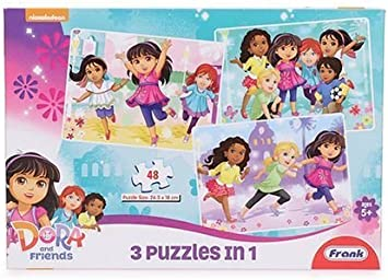 Frank Dora and Friends 3 Puzzles in 1 (48 Pieces)