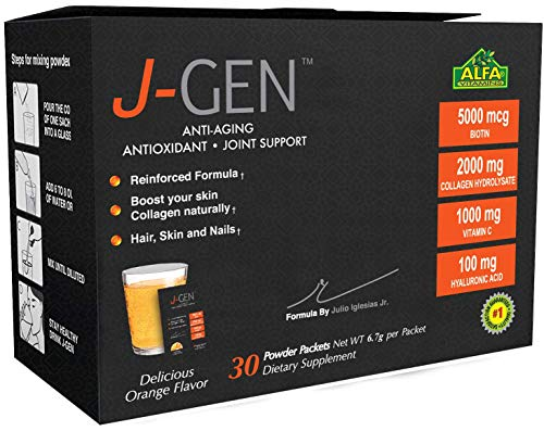 (J-GEN Orange Powder Drink Mix - Ultimate Anti-Aging, Antioxidant Formula with Collagen, Resveratrol, Hyaluronic Acid, Magnesium, Vitamin C 1000mg - Supports Hair, Skin, Nails and Joints - 30 Sachets)