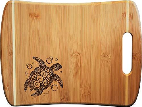 Doodle Gifts Pin Stripe Bamboo Cutting Board w/Handle, Sea Turtle, 9 x 12