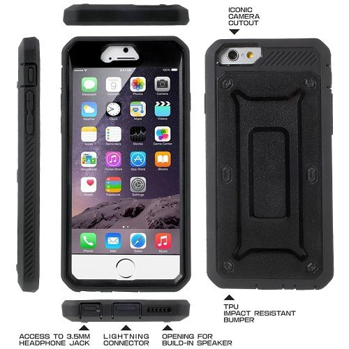 "Apple iPhone 6 6S 4.7"" Handy Tasche Outdoor Case PC TPU Holster Kickstand Clip Hülle Schwarz"