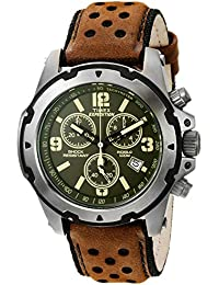 Men's TW4B01600 Expedition Sierra Brown/Green Leather Strap Watch