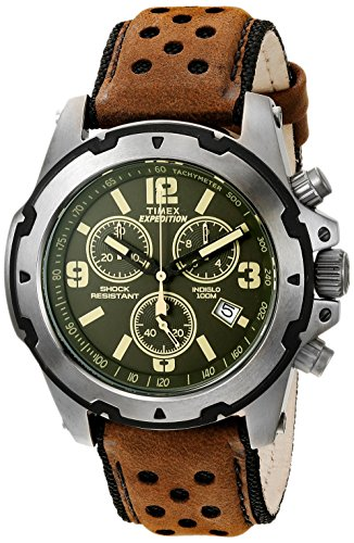 Leather Green Watch Strap (Timex Men's TW4B01600 Expedition Sierra Brown/Green Leather Strap Watch)