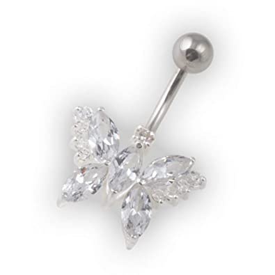 Amazon Com Votrepiercing White Pebble Stones Butterfly Belly Bar