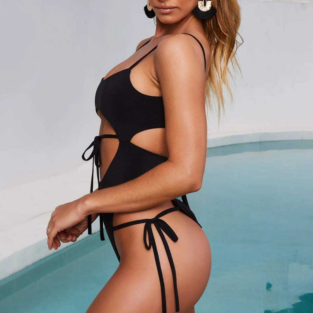 ZOMUSAR 2019 Women Conjoined Body Swimsuit Pure Color Frenulum Bikini Swimwear Beachsuit
