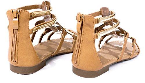 Flat Kesha58 Shoes Tan Strap Sandal Roman Gladiator Comfort Golden 6qxwRv6rX