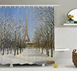 Ambesonne Country Decor Shower Curtain Set, Winter Scene of Historical Eiffel Tower in Paris Snowy Day City European Urban View, Bathroom Accessories, 69W X 70L inches, White Blue Grey