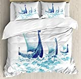 Ambesonne Viking Duvet Cover Set Queen Size, Portrait of Viking Drakkars in Nordic Sea Rough Wood Ships of Scandinavian Ancient Art, Decorative 3 Piece Bedding Set with 2 Pillow Shams, Blue