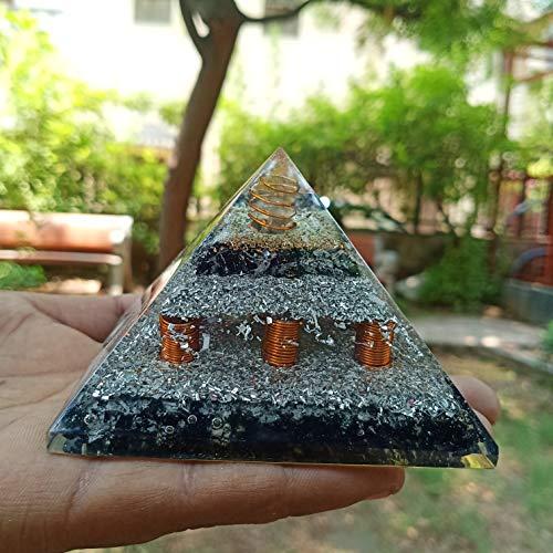Black Touramilne Orgone Pyramid With Crystal PointCopper Wire Chakras Balancing & Reiki Healing Size:- 3-3.5 Inches