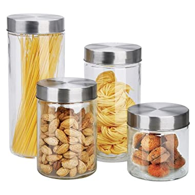 Home Basics Canister Set, Glass, 4-Piece