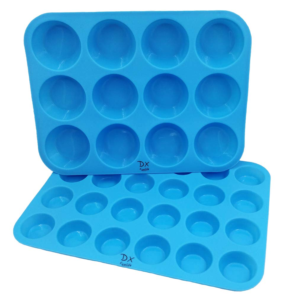 DX Funlife Silicone Muffin Pan Cupcake Baking Cups Cake Molds Maker Cake Pops Bakeware Tins Tray Non Stick Pans Easy To Clean BPA Free (Large 12 Cups and Mini 24 Cups) Set of 2 Sky Blue