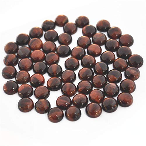 (Calvas Wholesale Fashion Natural Stone CABOCHON Round CAB Red Tiger Eye Beads Quality for Jewelry Accessories 10mm 50Pcs - (Item Diameter: 10mm))