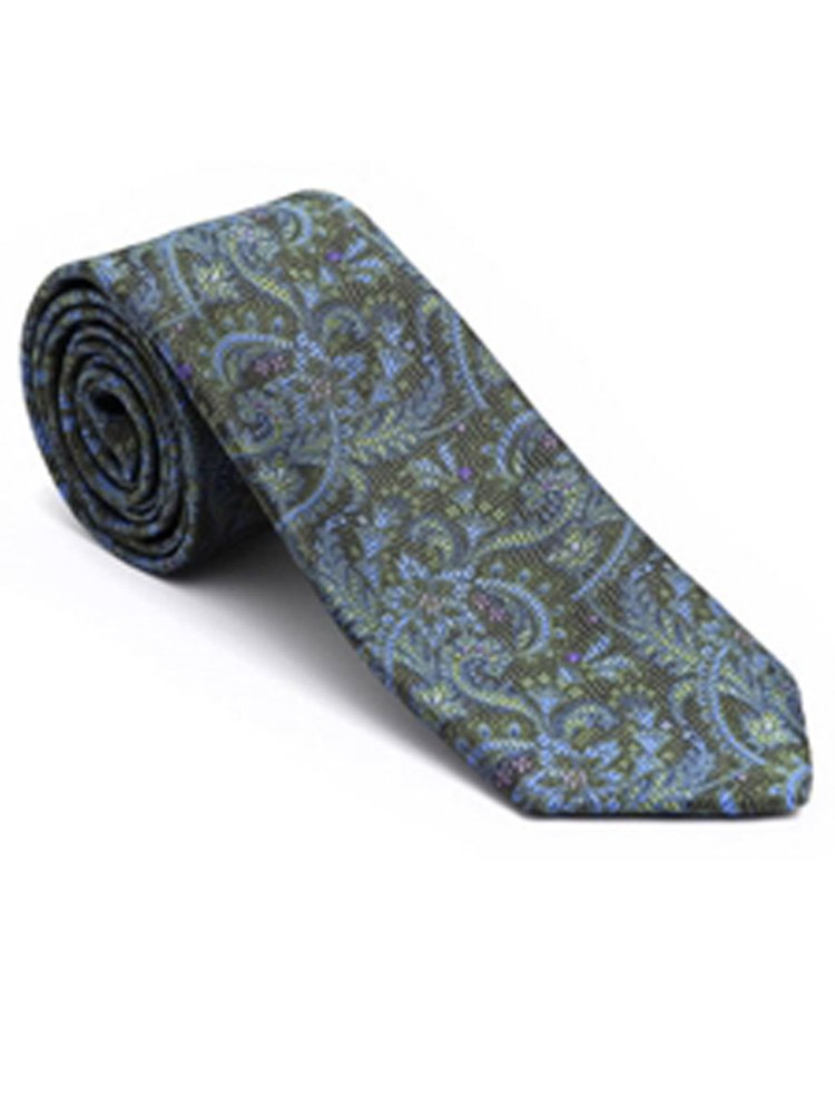 Robert Talbott Jungle Green with Paisley Design Post Ranch Estate Tie