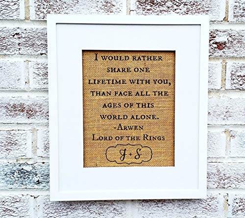 Lord of the Rings quote, Lotr, Romantic gift for fan, book...
