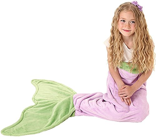 [Mermaid Tail Blanket - Soft and Warm Polar Fleece Fabric Blanket by Cuddly Blankets for Kids and Teens (Ages 3-12) (Purple and] (Ariel Tail Costumes)