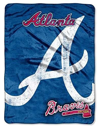 Officially Licensed MLB Atlanta Braves Triple Play Micro Raschel Throw Blanket, 46