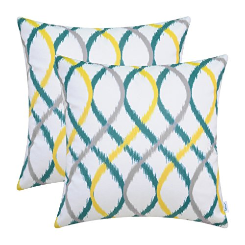 CaliTime Pack of 2 Cozy Fleece Throw Pillow Cases Covers Couch Bed Sofa Modern Two-Tone Waves Geometric 20 X 20 inches Gray/Teal / Yellow
