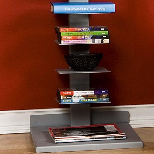 Southern Enterprises Spine Book Tower - Metal Floor Shelves, Silver by Southern Enterprises (Image #4)