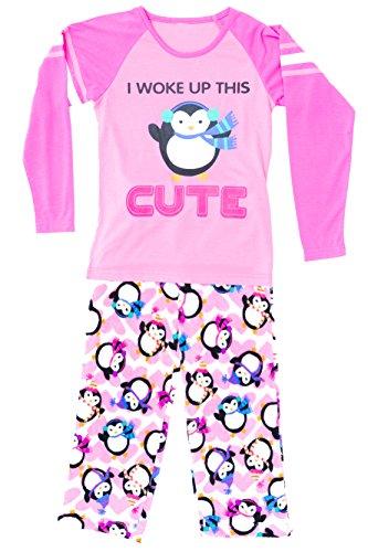 Just Love Two Piece Girls Pajamas Set,Cute Penguin,7-8