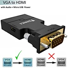 VGA to HDMI Adapter with Audio (Old PC to TV/Monitor with HDMI) ,FOINNEX VGA to HDMI TV Converter for HDTV, Computer, Projector with Audio Cable and Mini USB Cable, Plug and Play with Portable Size.