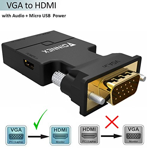 VGA to HDMI Adapter/Converter with Audio,(PC VGA Source Out to TV/Monitor with HDMI Connector),FOINNEX Active Male VGA in Female HDMI 1080p Video Audio Adattatore/convertidor for Computer,Projector