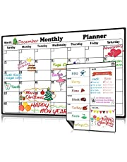Homein Magnetic Dry Erase Calendar for Refrigerator 2 Pack 2019-2020 Monthly and Weekly Planner Fridge Calendars Kitchen Organizer Large Organizing Whiteboard to Do List Meal Board for Family