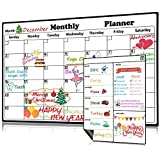 Magnetic Dry Erase Calendar for Refrigerator 2 Pack 2019-2020 Monthly & Weekly Planner Fridge Calendars Kitchen Organizer Large Organizing Whiteboard to Do List Meal Board for Family