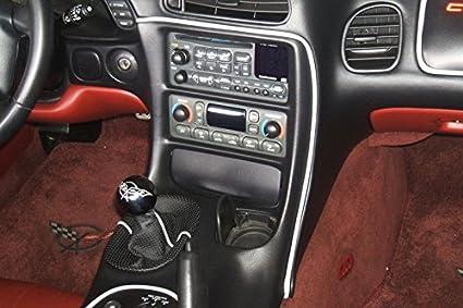 RedlineGoods Radioanlageguertel f/ür Corvette C5 1997-04 LEDER Schwarz perforiert STICH Rot