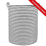Wimaha Large Foldable Waterproof Black Stripe Laundry Hamper, Collapsible Canvas Durable Clothes Basket with Reinforced Round Carry Handles, Durable, Easycare, Convenient Carrying for Home Dorm Closet