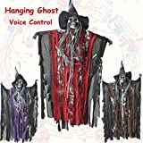 Coerni Halloween Decorations Outdoor Indoor Scary Hanging Ghost Witch with Lighting Eyes (Red)