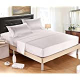 DelbouTree Silky Soft Solid Matte-Satin Bed Sheet Sets Shiny-Free,Deep Pocket Queen 4 Pieces, Ivory, ON PROMOTION