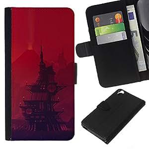 JackGot ( Barco pirata de dibujos animados ) HTC Desire 820 la tarjeta de Crédito Slots PU Funda de cuero Monedero caso cubierta de piel