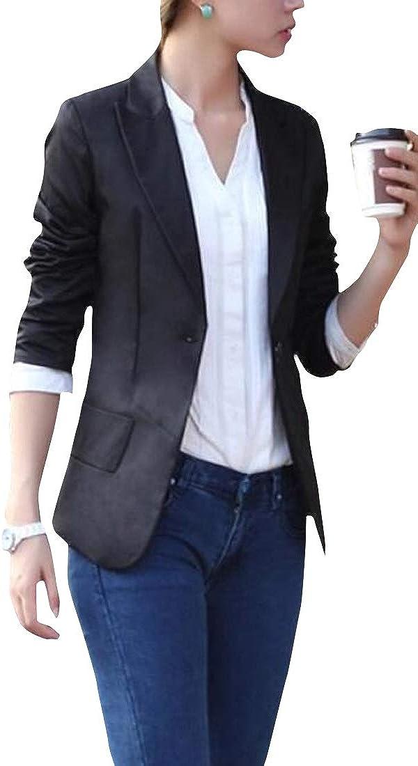 JYZJ Women Slim OL Solid Casual Long Sleeve Blazer Jacket Coat Outwear