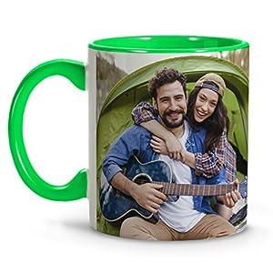 Taza Desayuno Personalizada con Foto/Imagen/Texto/Nombre | Cerámica | Regalo Original | Interior Verde Claro con Asa 5