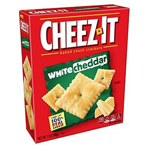 Cheez-It White Cheddar Baked Snack Cheese Crackers, 7 Ounce Box (Cheese Snacks Crackers)