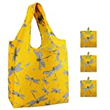 Reusable Groceries Bags 3 Pack Bulk with Pouch Folding Convenient Grocery Tote 50 LB Durable Rip-stop Nylon Shopping Bag Large Capacity Machine Washable Bag Dragonfly Design (Yellow)