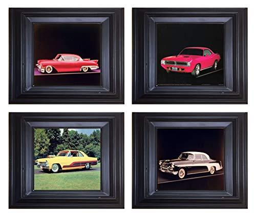Framed Picture Wall Decor Vintage Car Plymouth Cuda, DeSoto, Cadillac Eldorado Biarritz and Chevy Black Framed 8x10 4 Set Art Print Posters