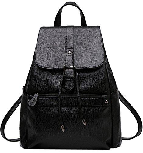 Coofit Damen Vintage Leder Rucksack Schultasche Daypacks Für Outdoor Sports, Black, one size