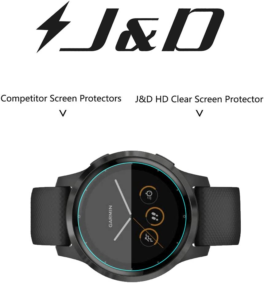 Full Coverage 6-Pack Soft Skin Not Glass J/&D Compatible for Garmin Vivoactive 4s 40mm Screen Protector HD Clear Screen Protector for Garmin Vivoactive 4s 40mm Screen Protector